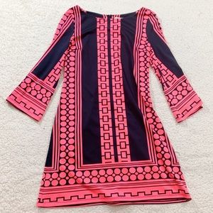 Julie brown neon polka dot shift dress pink black